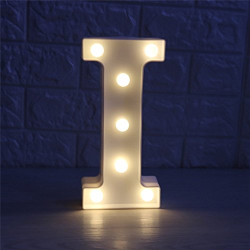 Alphabet Lamp (CSKB LED Marquee Letter Lights Alphabet Light Up Marquee Letters Sign For Wedding Birthday Party Battery Operated Christmas Night Light Lamp Home Bar Decoration I)