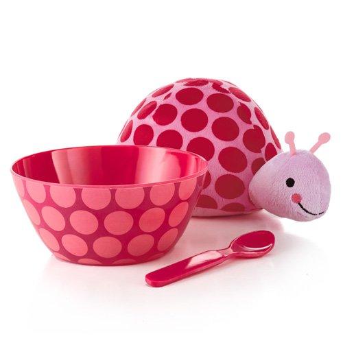 Hallmark Baby Snack Set with Bowl, Spoon, and Plush Pink Ladybug Stuffed Animal