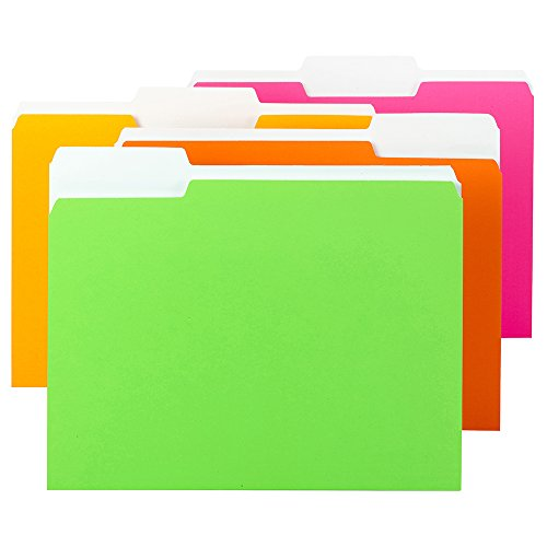 Smead File Folder, 1/3-Cut Tab, Letter Size, Assorted Neon Colors, 12 per Pack (11925) ()