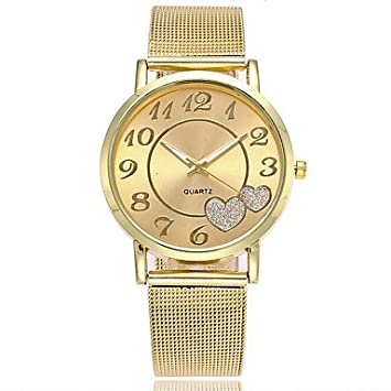Amazon.com : Mens Watches XU Neutral Quartz Alloy Mesh Belt Contracted Heart-Shape Dress Watch Womens Watches (Color : Gold, Gender : for Lady) : Sports & ...