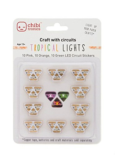 Chibitronics Tropical LED Circuit Stickers - Megapack, 10 Pink, 10 Orange, and 10 Green (Tropical Craft)