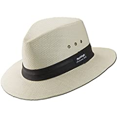 "Escape Everyday! Crafted out of a natural matte toyo material, this Panama Jack safari sun hat is designed with a 2-pleat ribbon band, antique eyelets (air vents), Original Panama Jack label and a 2 1/2"" brim. The double-pleated weave provide..."