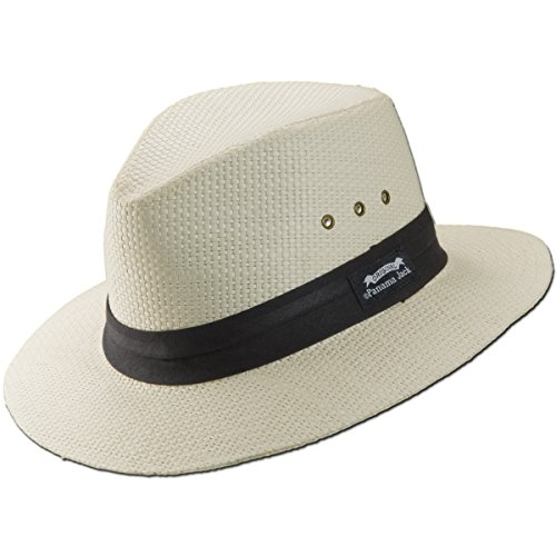 Panama Jack Natural Matte Toyo Safari Sun Hat with Black Band (White, Large) (Apparel Panama Jack)