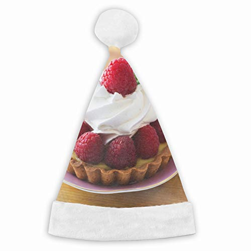 Tartlet Berries Cream Raspberry Velvet Santa Hat with Plush Trim, Two Size Fits Most for Adult's and Child