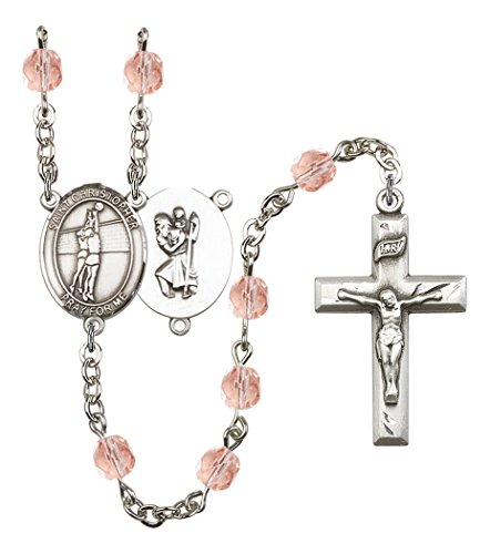 October Birth Month Prayer Bead Rosary with Saint Christopher Volleyball Centerpiece, 19 Inch ()