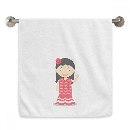 DIYthinker Flower Red Dress Spain Cartoon Circlet White Towels Soft Towel Washcloth 13x29 Inch by DIYthinker