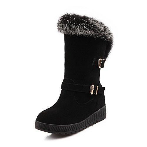 Allhqfashion Women's High Heels Solid Pull On Frosted Round Closed Toe Boots Black SHM27