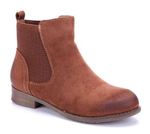 Schuhtempel24 Damen Schuhe Klassische Stiefeletten Stiefel Boots Blockabsatz Used Look 3 cm Camel