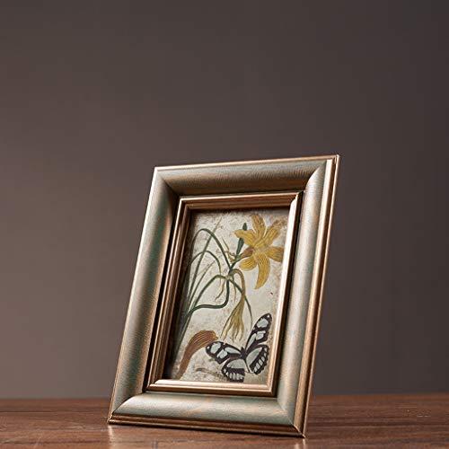 MYH- Retro Brown Solid Wood Glass Photo Frame Indoor Arrangement Crafts Artwork Wedding Gifts 5 inch / 6 inch / 7 inch (Size : 7 inch) ()