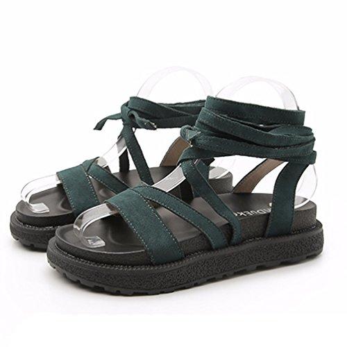 À Vert Chaussures Bout 34 Jrenok 43 Loisir Ouvert Sandales Femme Lanières Élégant Plateforme Confortable IwHUzOY