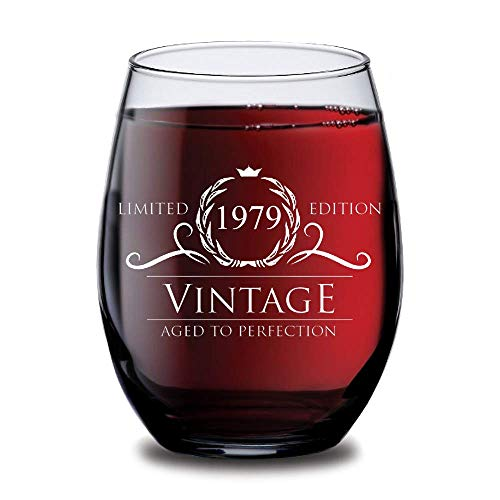 (1979 40th Birthday Gifts for Women and Men Wine Glass | Funny Vintage 40 Year Old | Anniversary Gift Ideas Him Her Husband Wife Mom Dad | 15 oz Stemless Glasses | Party Supplies Decorations Red Wines)