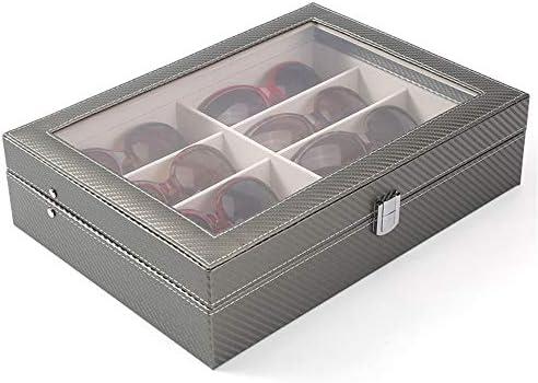 Cajas decorativas Gafas de sol de las lentes Caja Organizador Organizador de almacenamiento de las lentes Gafas 8-Slot Caja de almacenamiento caja de la pantalla de cristal cuero de la PU Protector
