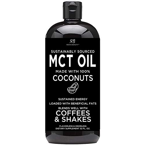 Premium MCT Oil Made only from Coconuts - 32oz BPA Free Bottle. Keto, Paleo, Gluten Free and Vegan Diet Approved by Radha Beauty