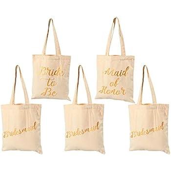 Amazon Bridal Shower Canvas Tote Bag 5 Pack Reusable