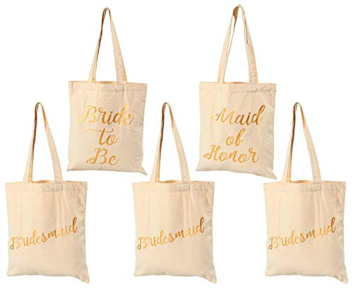 Bridal Shower Canvas Tote Bag - 5-Pack Reusable Shopping Bags for Wedding Favors, Bachelorette Party Gifts, and Bridal Shower Accessories, 100% Cotton Canvas, 13.5 x 12 Inches ()