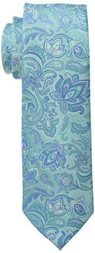 Haggar Men's Tall Performance Paisley Necktie, Large Long, Turquoise (Extra Long Ties)