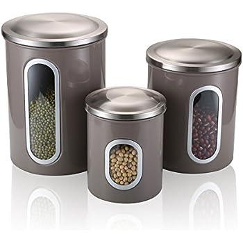 Amazon.com: Home Fashions 4 Piece Storage Jar Set: Kitchen & Dining