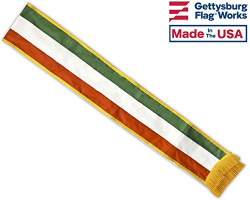 5' Columbus Day Italian Tri-color Parade Sash, Sewn Nylon, Made in USA by Gettysburg Flag Works
