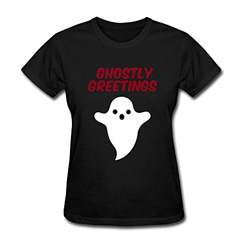 DASY Women's O Neck Halloween Ghostly Greetings T Shirt X-Large Black (Womens Ghostly Wig)
