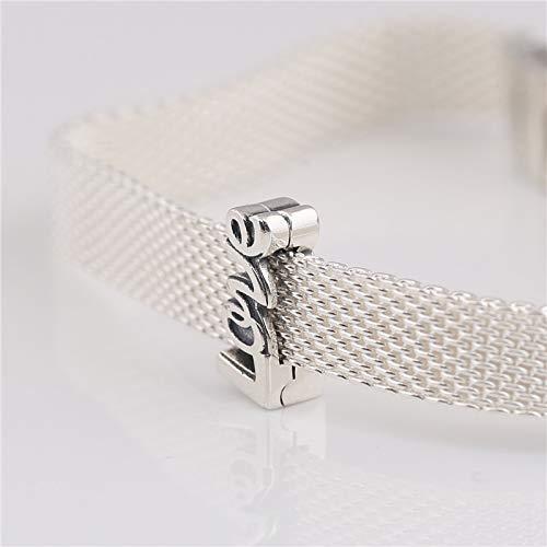 Calvas New R Series 925 Sterling Silver Original Charm reflexions Love Clip Charm for Womens Woven Chain