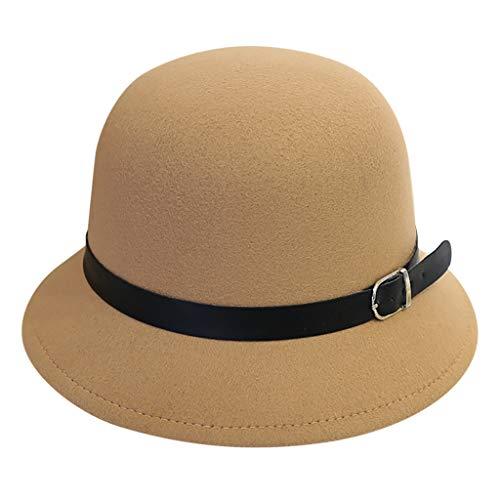 FEDULK Women's Fedora Flppy Buckle Cap Cute Classic Style Outback Wide Brim Hat Panama Hat(Khaki, One Size)