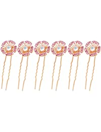 Set of 6 Rhinestone Crystal Bridal Weddng Hair Pins