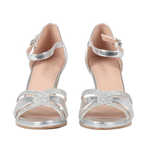 DAME ROSE Sandali Eleganti Donna con Tacco Altezza 8 cm, Cinturino E Fibbia, Colore Argento