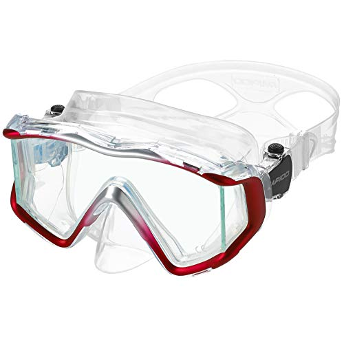 Phantom Aquatics Rapido Boutique Collection Clareza Panoramic Three Window Tempered Glass Lens Scuba Snorkeling Dive Mask