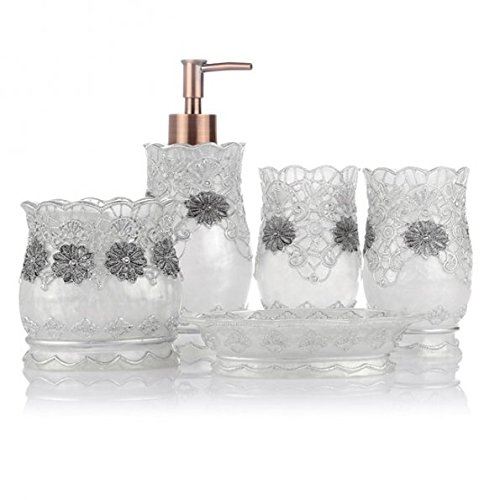 glass bathroom accessories. LAGUTE 5PCS Vintage Classic Luxury Bathroom Bath 3D Decor Accessories Collection Set For Hotel \u0026 Home With Soap Dispenser, Toothbrush Holder, Cup Glass A