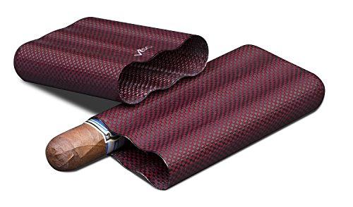 Visol Products Kevlar Lightweight Cigar Case, Holds 3 Cigars of Up to 58 Ring Gauge, Red by Visol