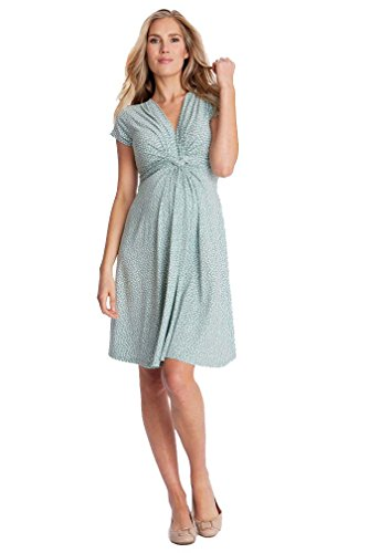 Seraphine Jolene Knot Front Maternity And Nursing Dress - Short Sleeve - Print - Sage Dot - - Kate Maternity Middleton