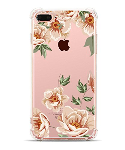 iPhone 8 Plus Case Girly iPhone 7 Plus Case, Hepix Soft Clear TPU Flowers Floral Print Protective Bumper Cover Case for iPhone 7 Plus (2016) / iPhone 8 Plus (2017) [5.5 inch]