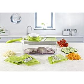 Mandoline Slicer Set, Cuts Fruits & Vegetables, Straight & Julienne, Grates Cheese, with 4 Adjustable Blades, Safety Holder , By Jobox