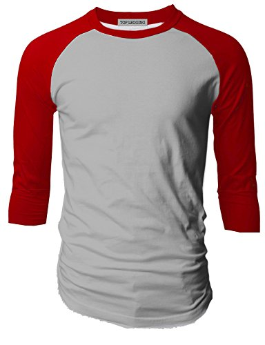 TL Men's Baseball Crew Neck Cotton Long or 3/4 Sleeve Essentail Raglan Tee Shirts (LARGE, 3/4_SL-RED_HGREY) - Red Team Issue T-shirt