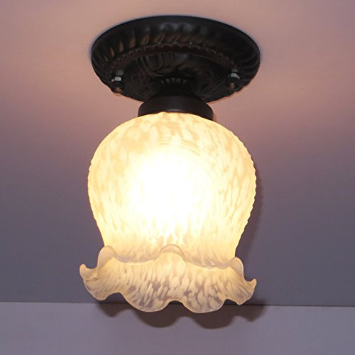 Mediterranean Glass Entrance Ceiling Lamps Antique European Bedroom Balcony Black Carved Top Base Ceiling Lamps Hallway Stairs Ceiling Lighting Fixtures Review