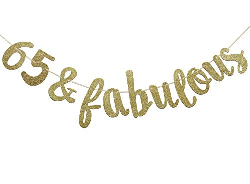 Firefairy 65 & Fabulous Cursive Banner- Happy 65th Birthday Anniversary Party Supplies, Ideas and Decorations(Gold) -
