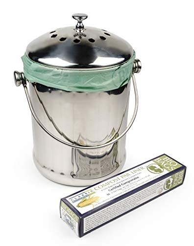 (RSVP Endurance 18/8 Stainless Steel Compost Pail with Box of 50 Compost)