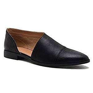 Blivener Women's Casual Slip On Loafer Pointed Toe Cut Out Slip On Office Casual Dressy Ankle Boot