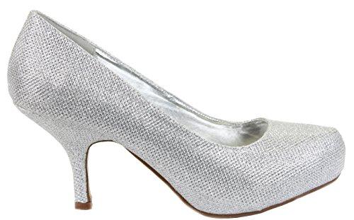 shoeFashionista Ladies Platform Work Pumps Low Mid Heels Stiletto Court Shoes Size Silver Glitter T5BD4