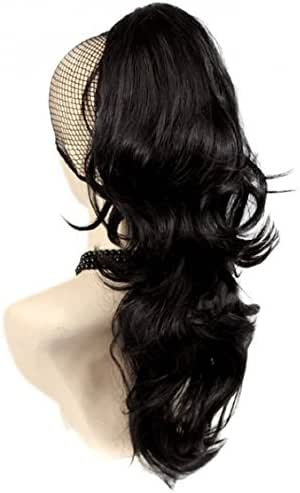 Ponytail clip in hair extensions Long Curly weave Hairpiece 24 inches Natural Black #1B claw clip On in synthetic Pony tail 160g Fake Hair with a jaw/claw clip