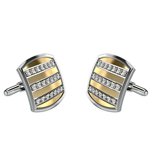 10k Yellow Gold Cufflinks (Yellow Gold Diamond Cufflinks For Men in 10K Gold and 0.90Ct Diamonds)