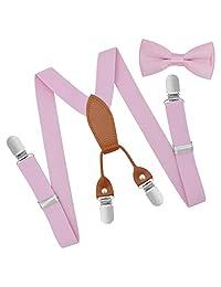Brooben Child Kids Suspenders Bowtie Set for Boys and Girls SPBT3-Pink