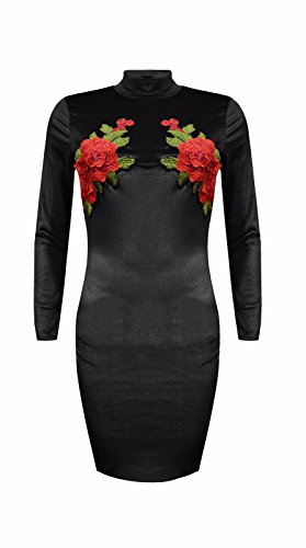 Bodycon Dress Velvet Black High Neck Rose Women c6Ixn00