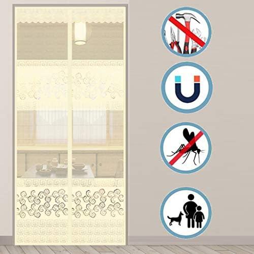網戸 磁気スクリーンドア、夏防蚊ベルクロフリーパンチ磁気ミュートドアカーテン、ホームリビングルームのベッドルームの暗号化メッシュドア 網戸 (色 : J, Size : 95x200cm)