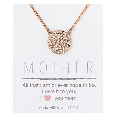 AMY O Rose Gold CZ Disk Pendant Necklace for Women, Personalized Gift for Mom