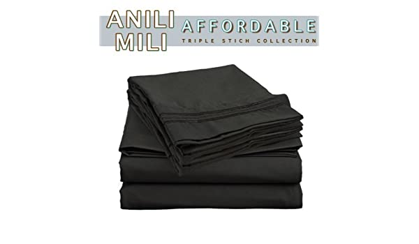 Amazon.com: De Anili Mili Triple puntada bordado asequible 4 PC hoja de cama Set - Tamaño Completo, Negro: Home & Kitchen