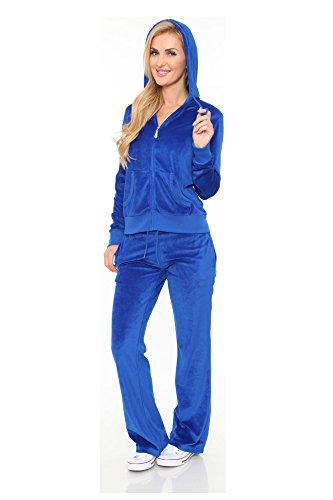 Plus Size Velour Suit - Women's Athletic Soft Velour Zip Up Hoodie & Sweat Pants Set Jogging Suit (Plus Size 3XL, Royal Blue)