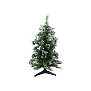 Darice DC-5076 3' Frosted Glacier Pine Artificial Christmas Tree with Pine Cones - Unlit, 3 to 6', Multicolor 108