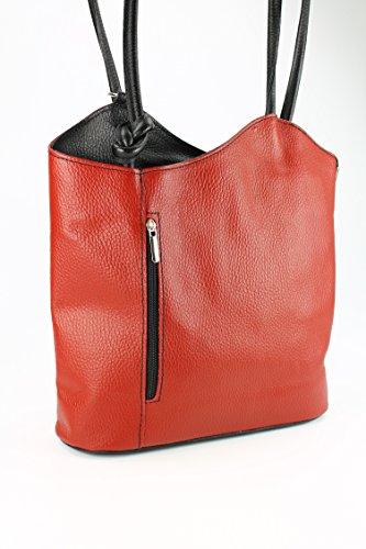 Belli - Bolso mochila  de cuero para mujer rojo rojo