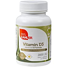 Zahler Vitamin D3 2000 IU, An All-Natural Supplement Supporting Bone Muscle Teeth and Immune System, Advanced Formula Targeting Vitamin D Deficiencies, Certified Kosher, 250 Softgels